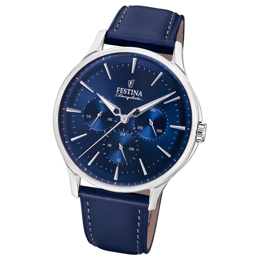 FESTINA Herren-Armbanduhr Multifunktion F16991/3 Quarz Leder blau UF16991/3