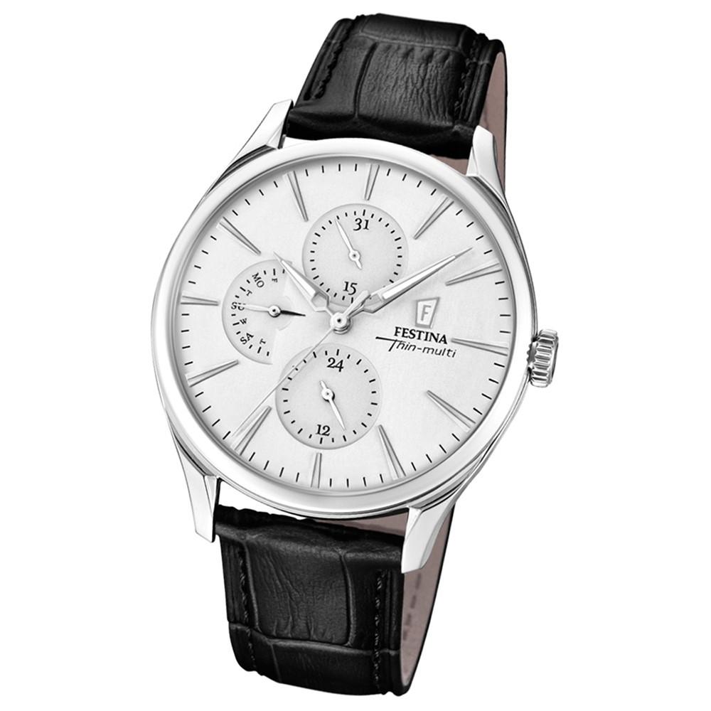 FESTINA Herren-Armbanduhr Thin Multi F16992/1 Quarz Leder schwarz UF16992/1