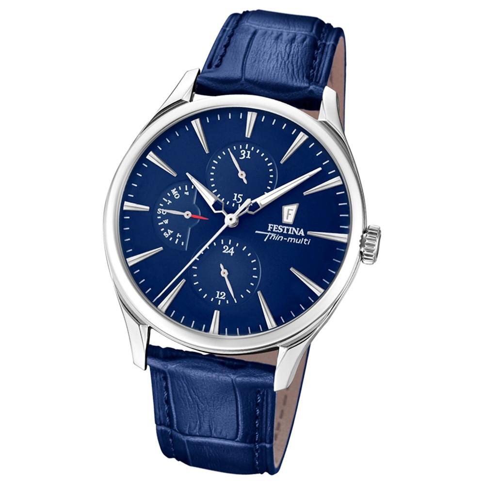 FESTINA Herren-Armbanduhr Thin Multi F16992/2 Quarz Leder blau UF16992/2