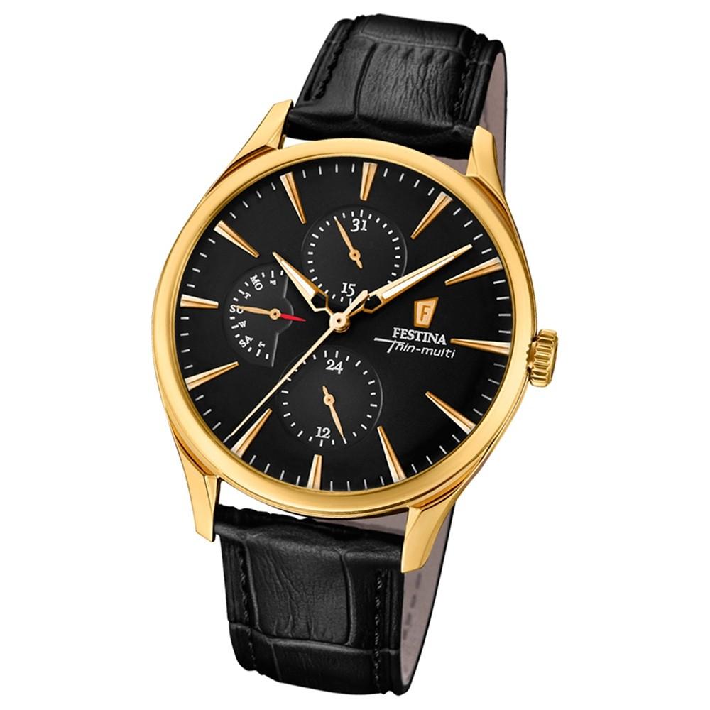 FESTINA Herren-Armbanduhr Thin Multi F16993/2 Quarz Leder schwarz UF16993/2