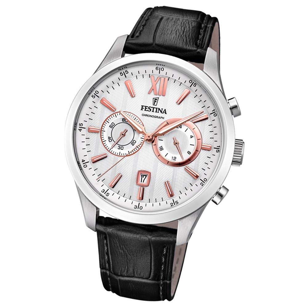 FESTINA Herren-Armbanduhr Chronograph F16996/1 Leder schwarz UF16996/1