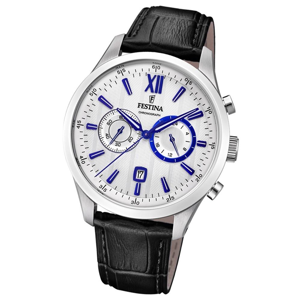 FESTINA Herren-Armbanduhr Chronograph F16996/2 Leder schwarz UF16996/2