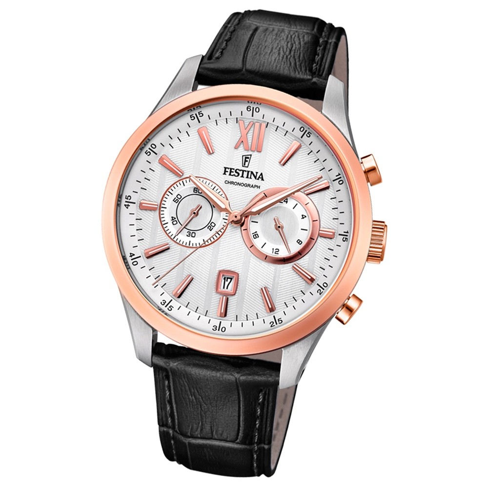FESTINA Herren-Armbanduhr Timeless Khrono F16997/1 Quarz Leder schwarz UF16997/1