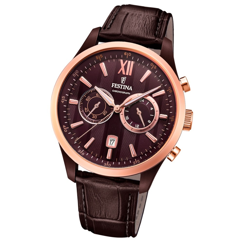 FESTINA Herren-Armbanduhr Timeless Khrono F16999/1 Quarz Leder braun UF16999/1