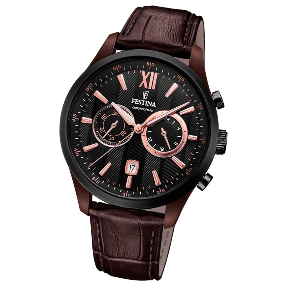 FESTINA Herren-Armbanduhr Timeless Khrono F16999/2 Quarz Leder braun UF16999/2