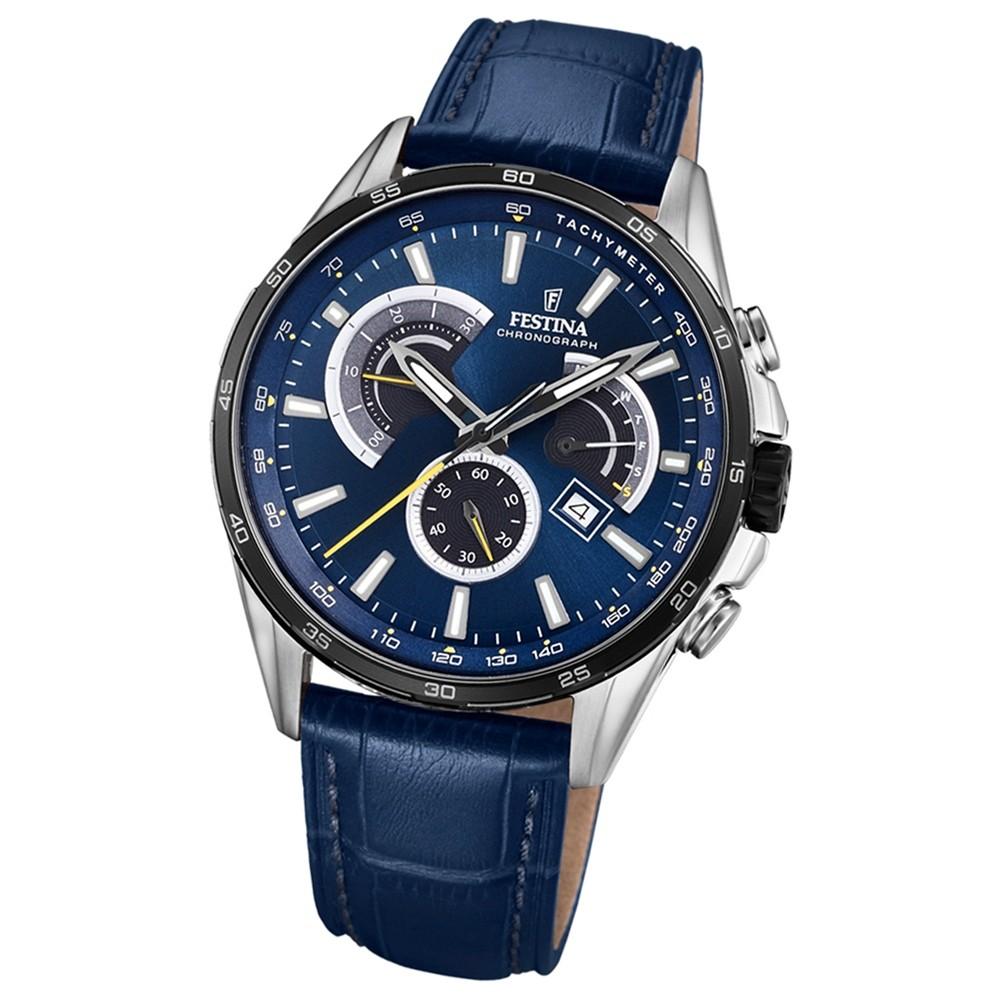 FESTINA Herren-Armbanduhr Chronograph Sport F20201/3 Leder blau UF20201/3