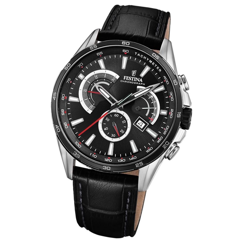 FESTINA Herren-Armbanduhr Chronograph Sport F20201/4 Leder schwarz UF20201/4
