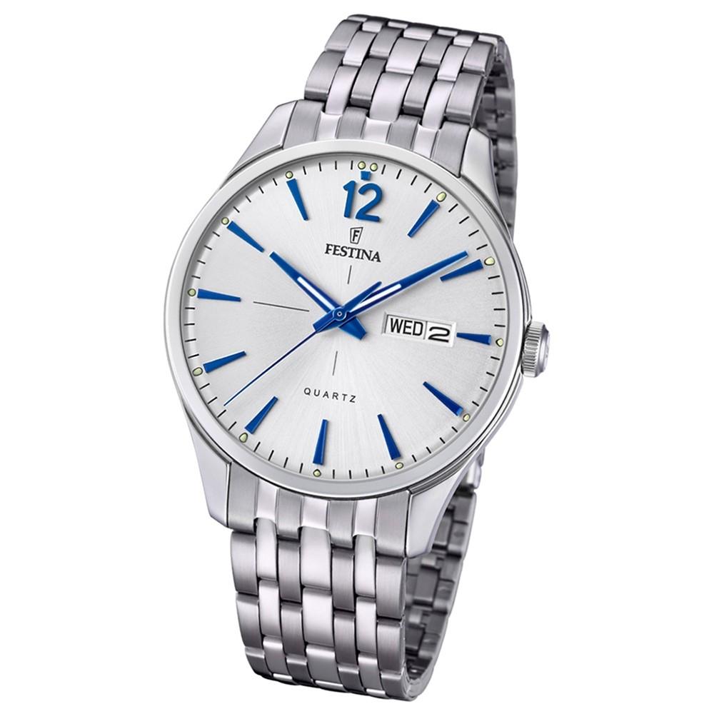 Festina Herren Armband-Uhr Retro F20204/1 Quarz Edelstahl silber UF20204/1