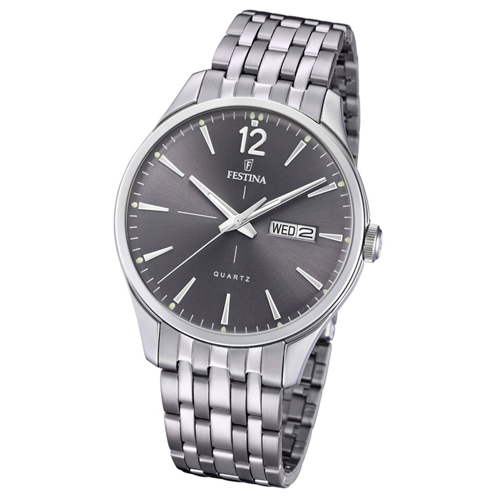 Festina Herren Armband-Uhr Retro F20204/2 Quarz Edelstahl silber UF20204/2