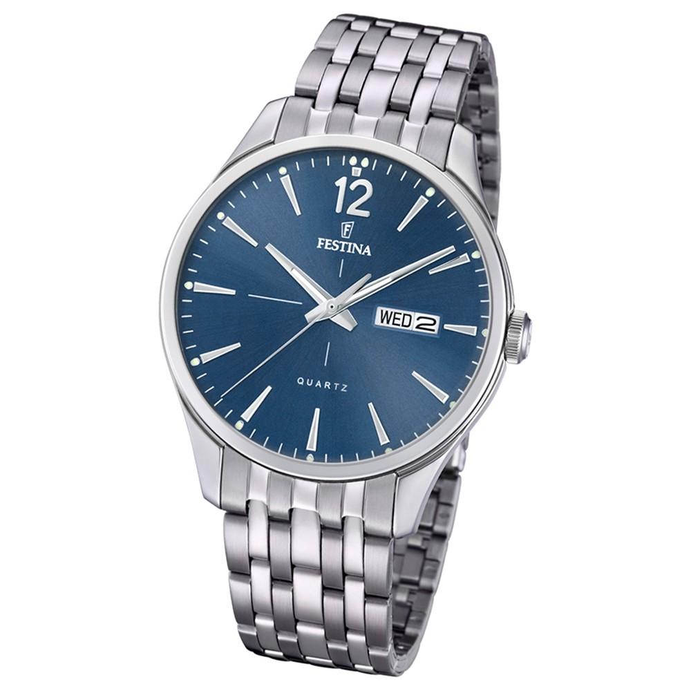 Festina Herren Armband-Uhr Retro F20204/3 Quarz Edelstahl silber UF20204/3