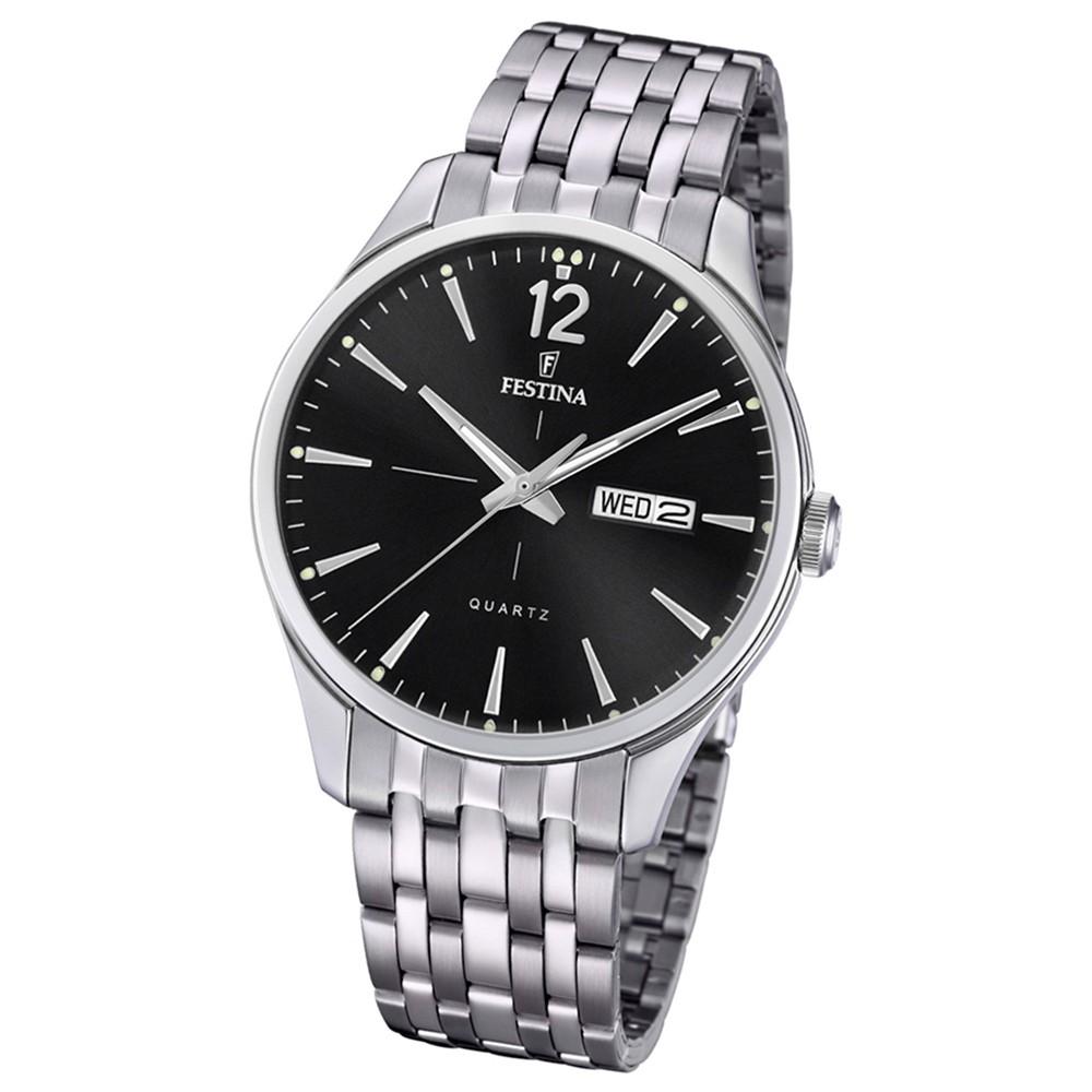 Festina Herren Armband-Uhr Retro F20204/4 Quarz Edelstahl silber UF20204/4