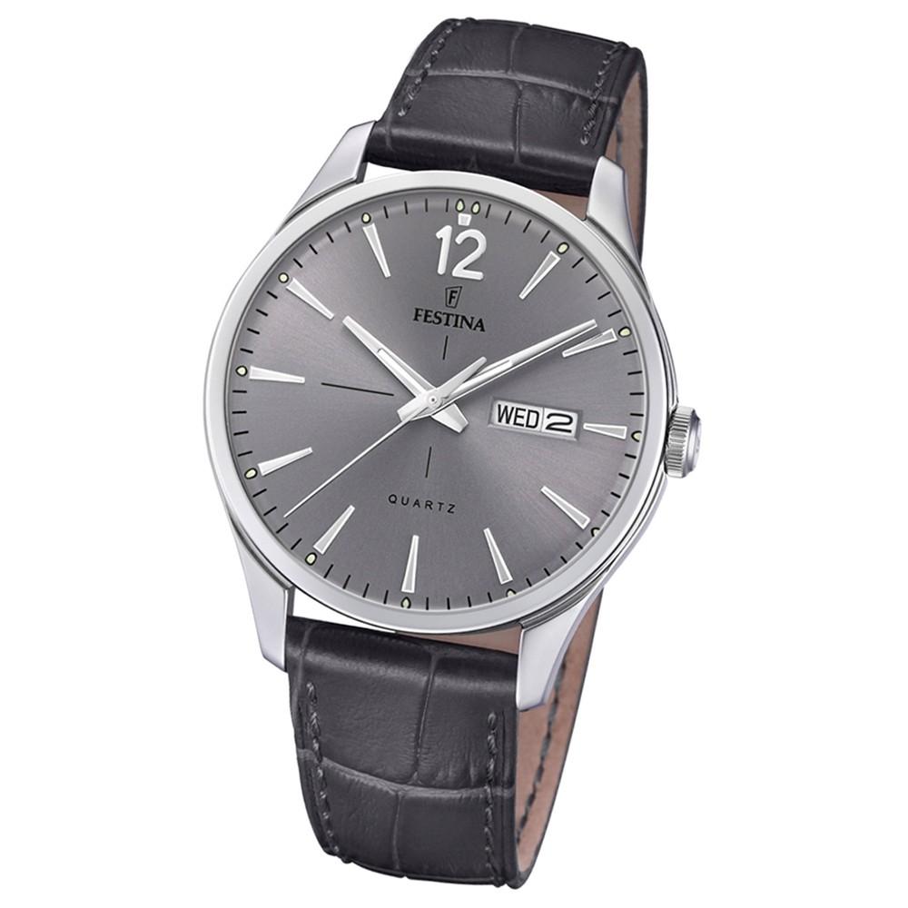 Festina Herren Armband-Uhr Retro F20205/2 Quarz Leder schwarz UF20205/2