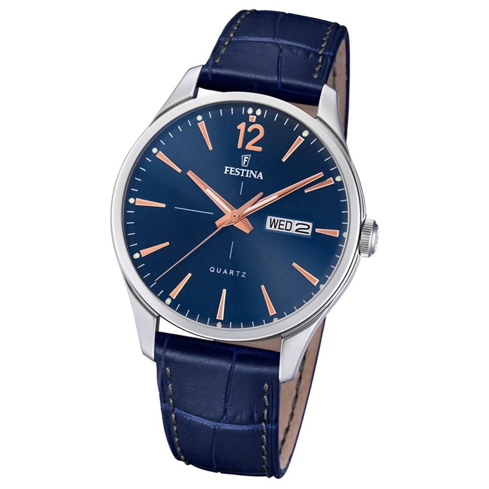 Festina Herren Armband-Uhr Retro F20205/3 Quarz Leder blau UF20205/3