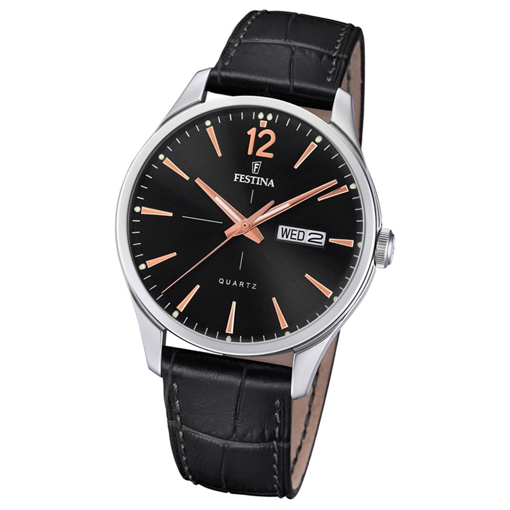 Festina Herren Armband-Uhr Retro F20205/4 Quarz Leder schwarz UF20205/4