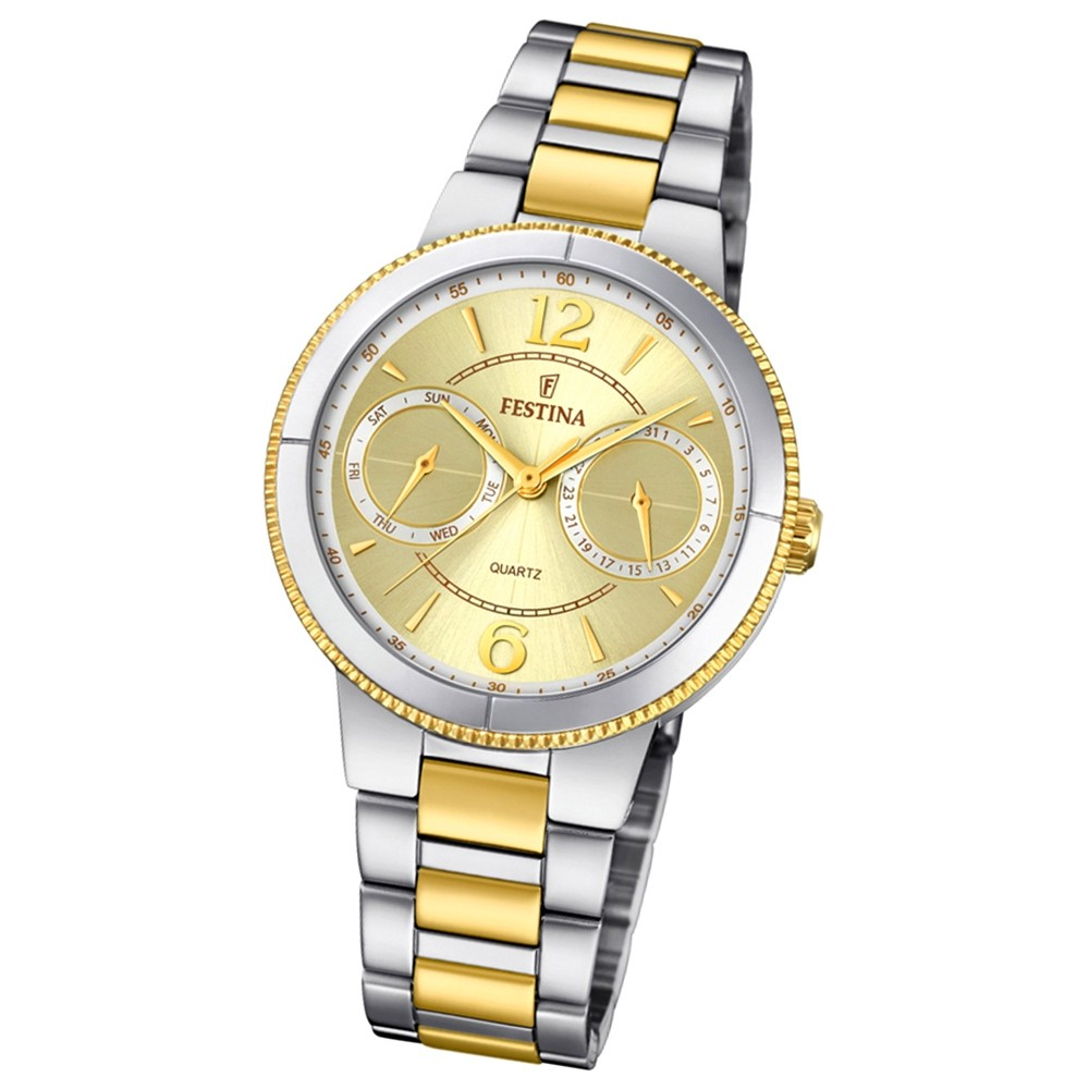 Festina Damen Armband-Uhr F20207/1 Quarz Edelstahl silber gold UF20207/1