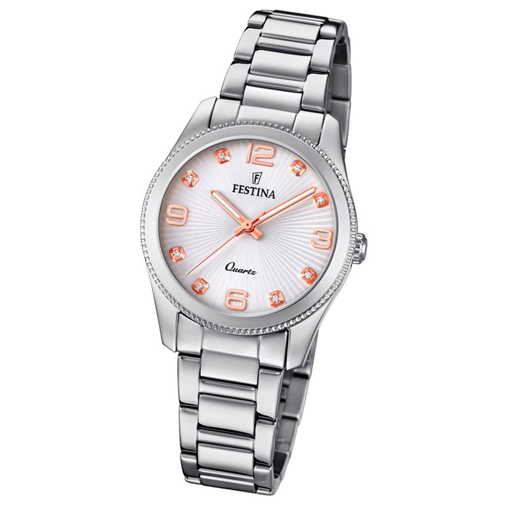 Festina Damen Armband-Uhr F20208/1 Quarz Edelstahl silber UF20208/1