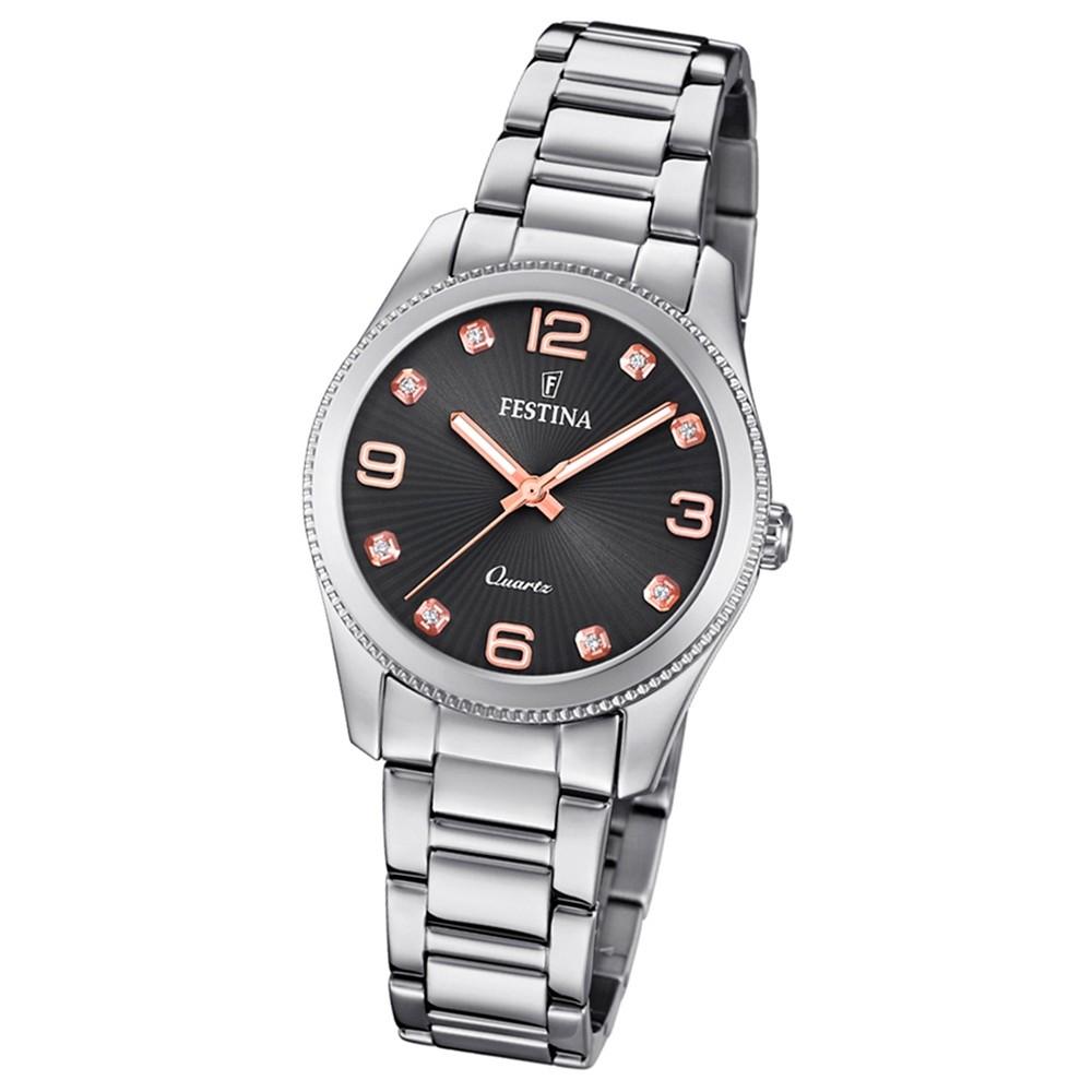 Festina Damen Armband-Uhr F20208/2 Quarz Edelstahl silber UF20208/2