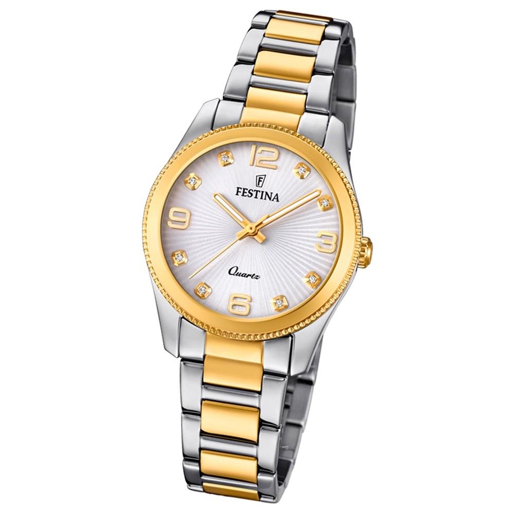 Festina Damen Armband-Uhr F20209/1 Quarz Edelstahl silber gold UF20209/1
