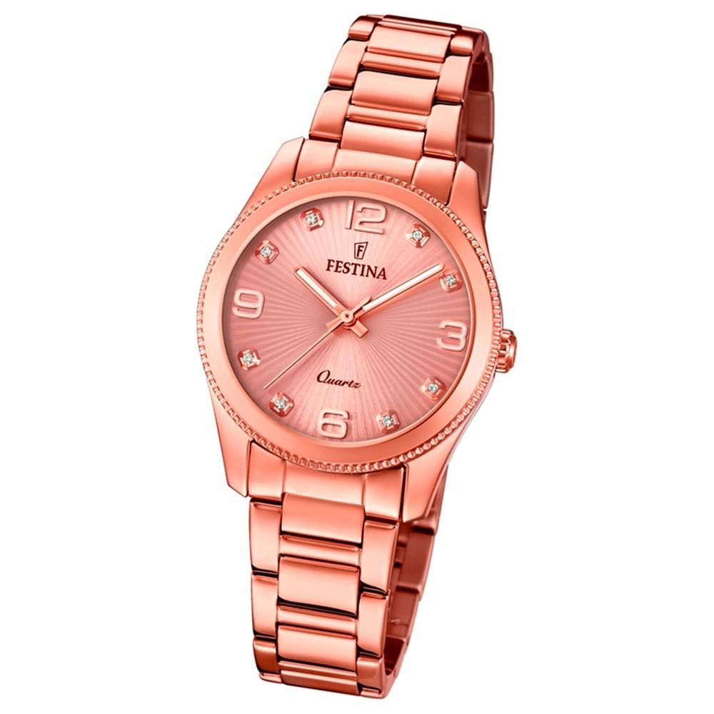 Festina Damen Armband-Uhr F20211/1 Quarz Edelstahl kupfer roségold UF20211/1