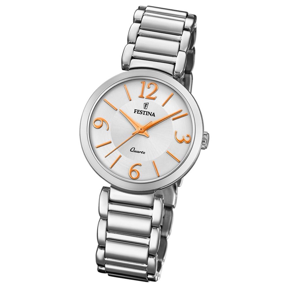 Festina Damen Armband-Uhr F20212/1 Quarz Edelstahl silber UF20212/1