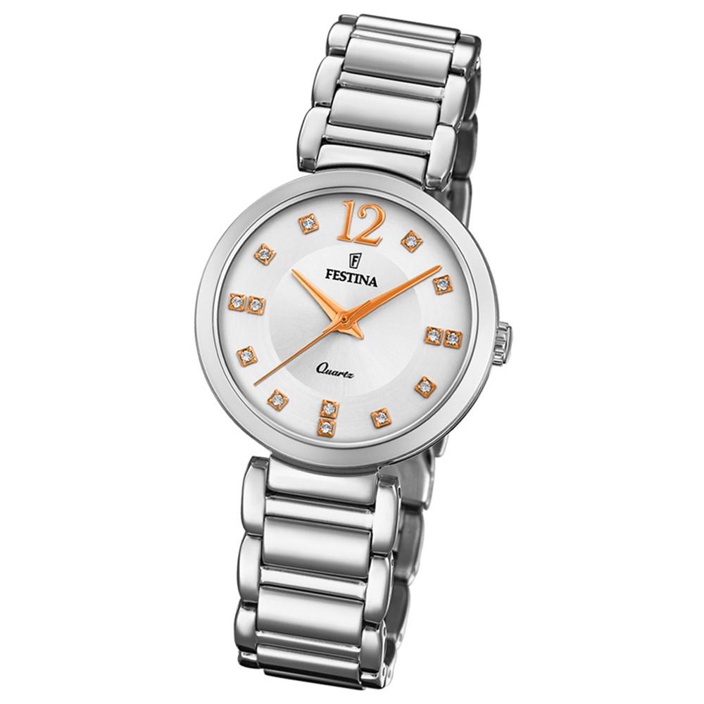 Festina Damen Armband-Uhr F20212/3 Quarz Edelstahl silber UF20212/3