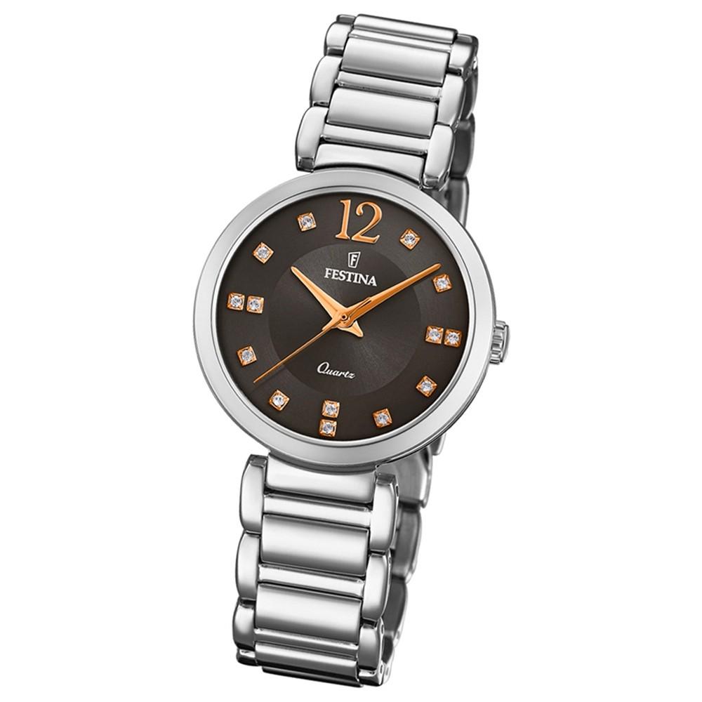 Festina Damen Armband-Uhr F20212/4 Quarz Edelstahl silber UF20212/4