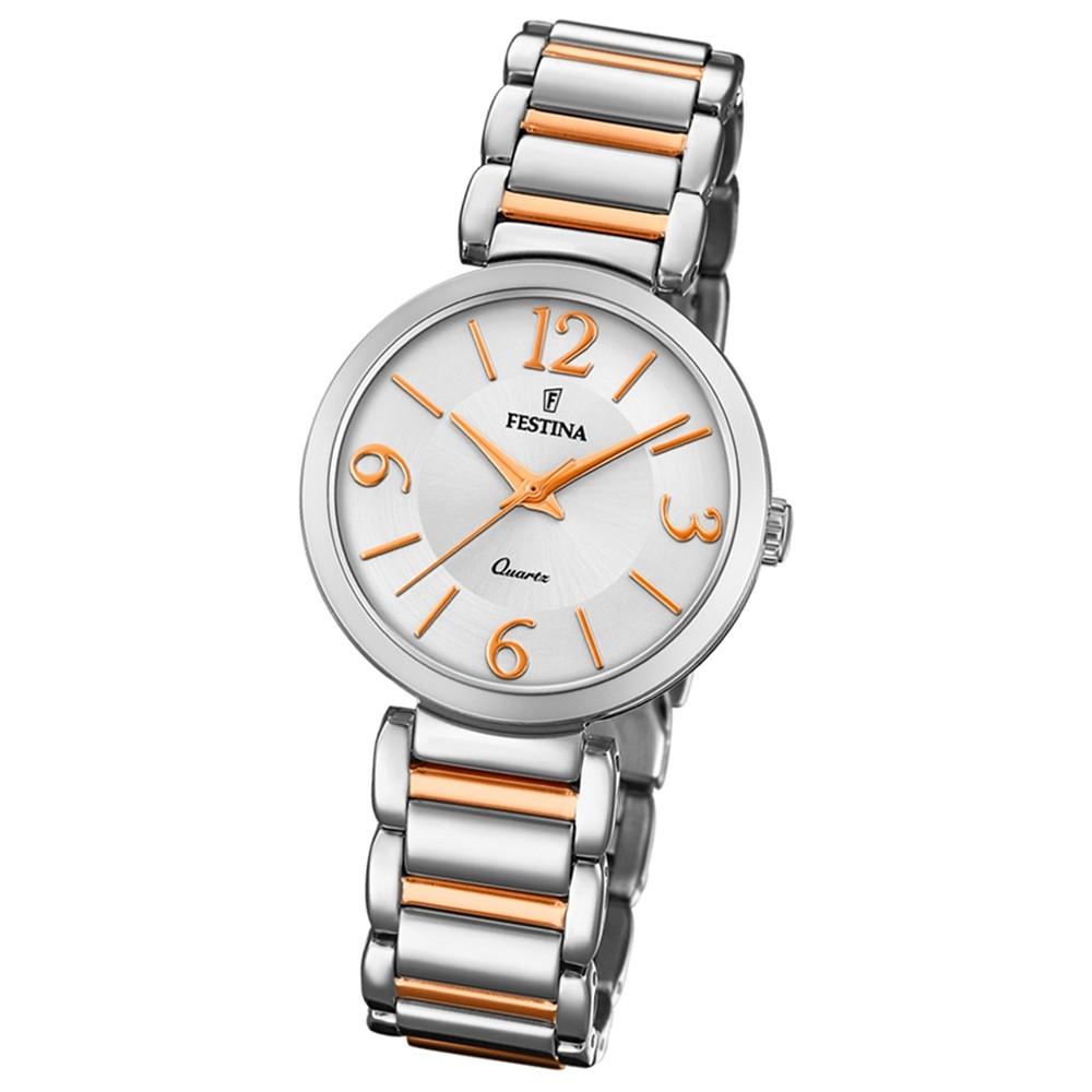 Festina Damen Armband-Uhr F20213/2 Quarz Edelstahl silber rosé UF20213/2