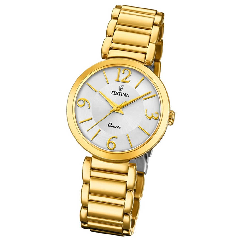 Festina Damen Armband-Uhr F20214/1 Quarz Edelstahl gold UF20214/1