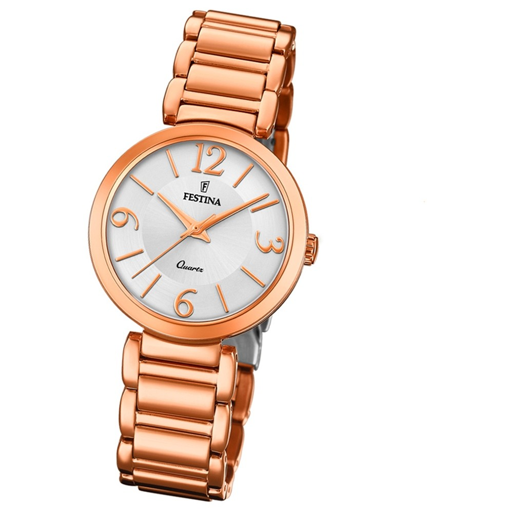 Festina Damen Armband-Uhr F20215/1 Quarz Edelstahl rosé UF20215/1