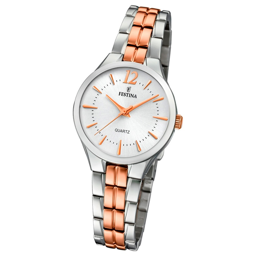 Festina Damen Armband-Uhr F20217/2 Quarz Edelstahl silber roségold UF20217/2