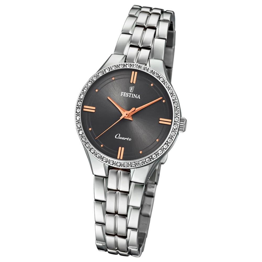 Festina Damen Armband-Uhr F20218/2 Quarz Edelstahl silber UF20218/2