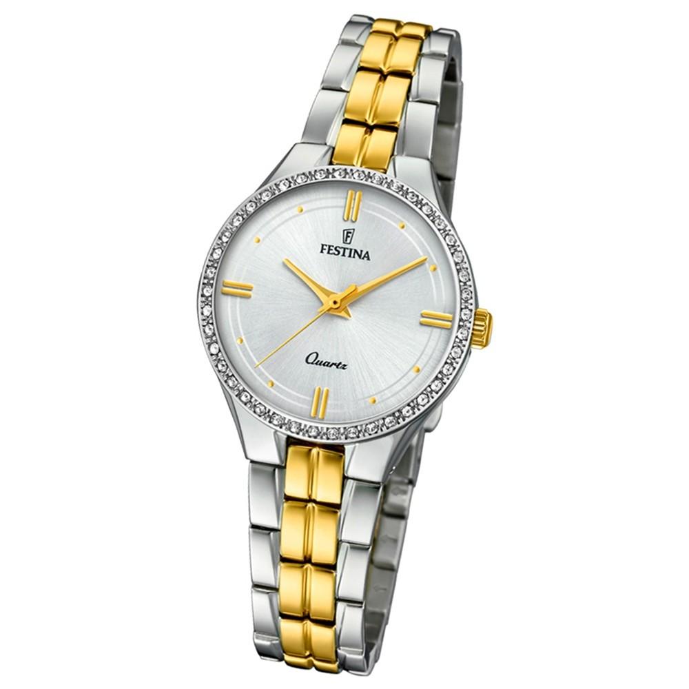 Festina Damen Armband-Uhr F20219/1 Quarz Edelstahl silber gold UF20219/1