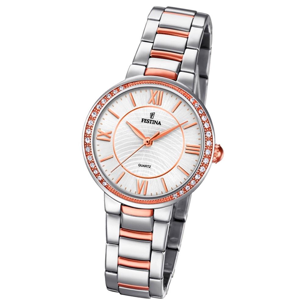 Festina Damen Armband-Uhr F20221/1 Quarz Edelstahl silber roségold UF20221/1