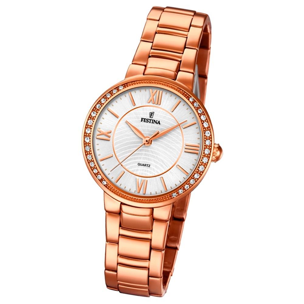 Festina Damen Armband-Uhr F20222/1 Quarz Edelstahl kupfer roségold UF20222/1