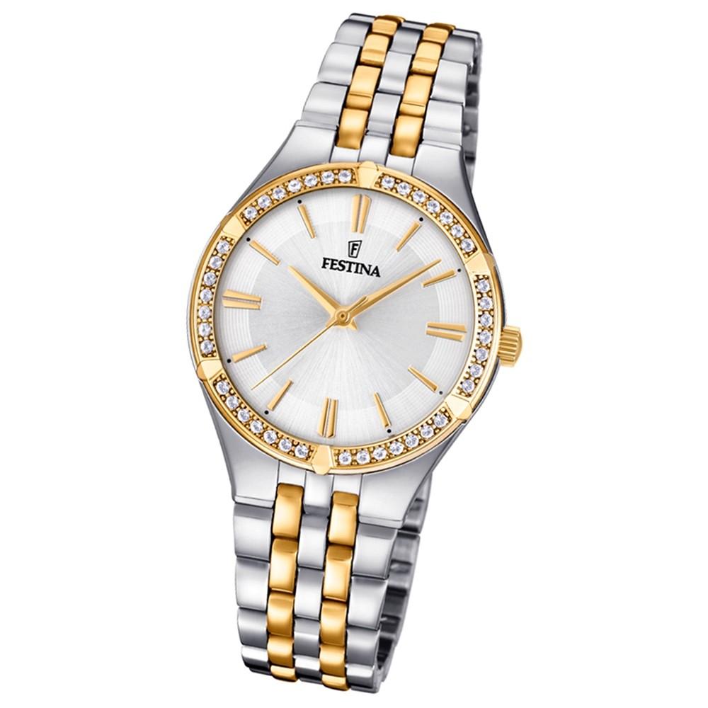 Festina Damen Armband-Uhr F20224/1 Quarz Edelstahl silber gold UF20224/1