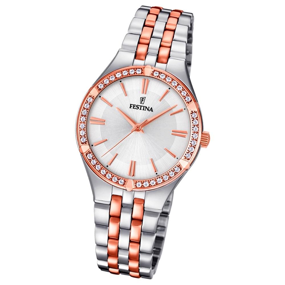 Festina Damen Armband-Uhr F20224/2 Quarz Edelstahl silber roségold UF20224/2