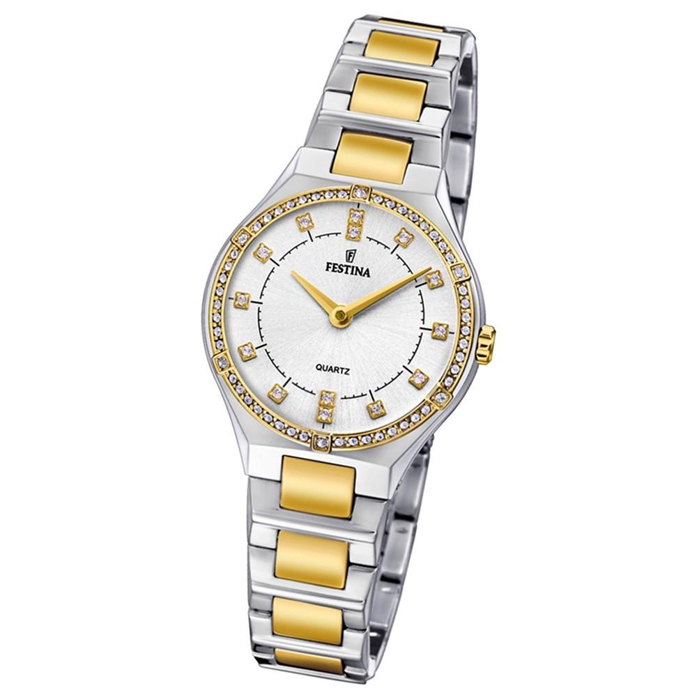 Festina Damen Uhr Edelstahl silber gold F20226/1 Slim Collection UF20226/1