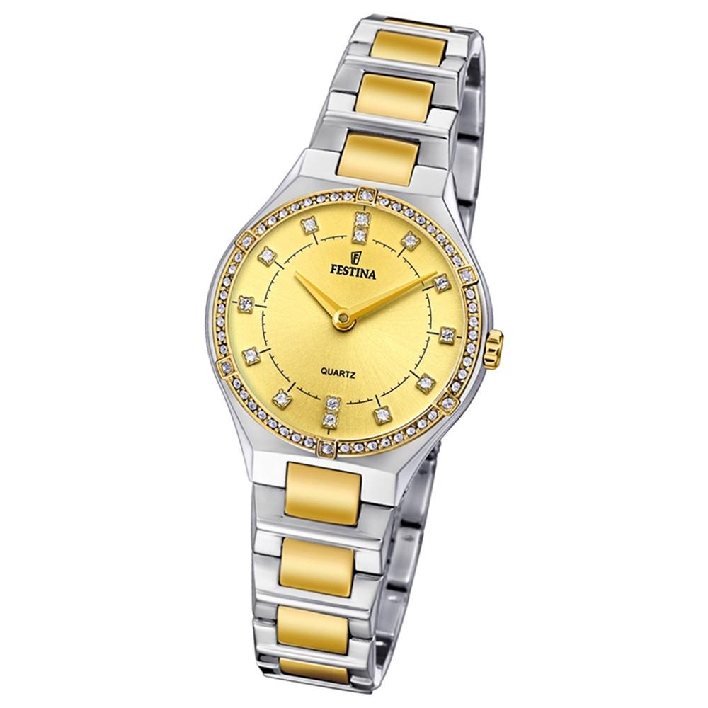 Festina Damen Uhr Edelstahl silber gold F20226/2 Slim Collection UF20226/2