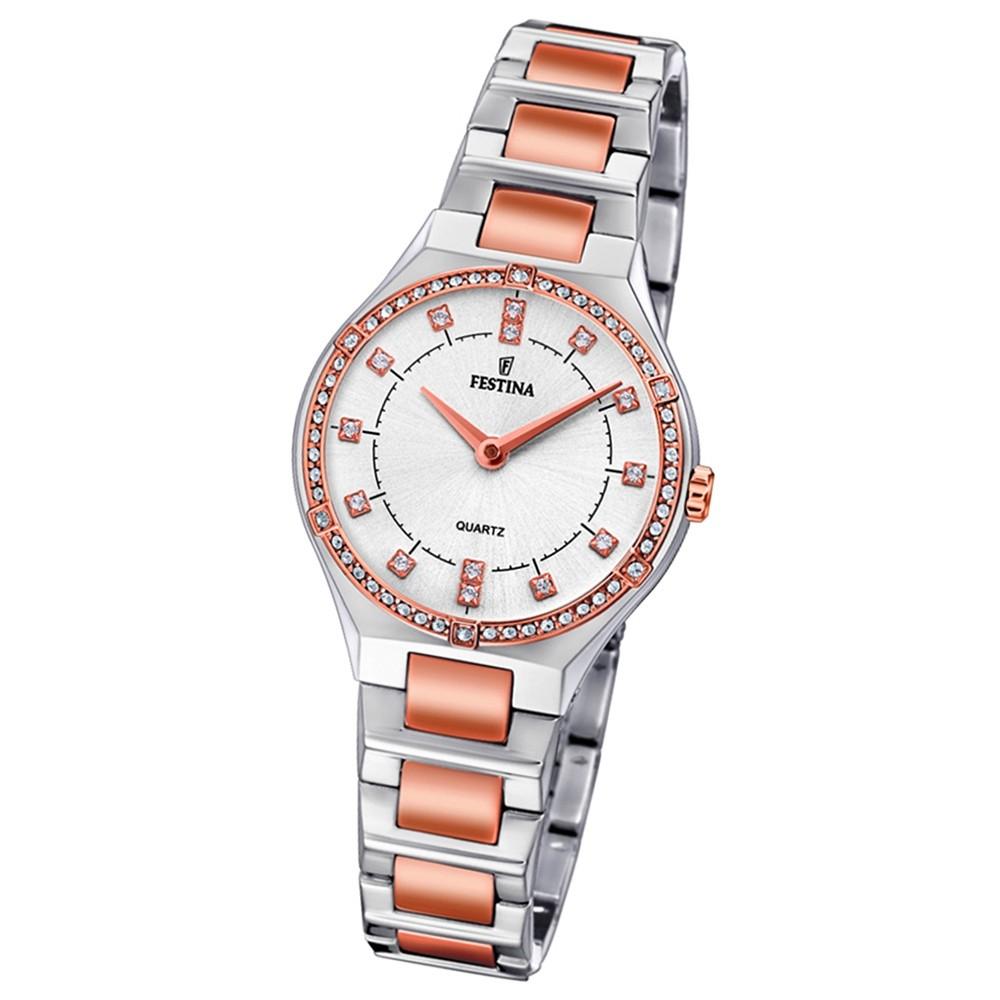 Festina Damen Uhr Edelstahl silber rosé F20226/3 Slim Collection UF20226/3