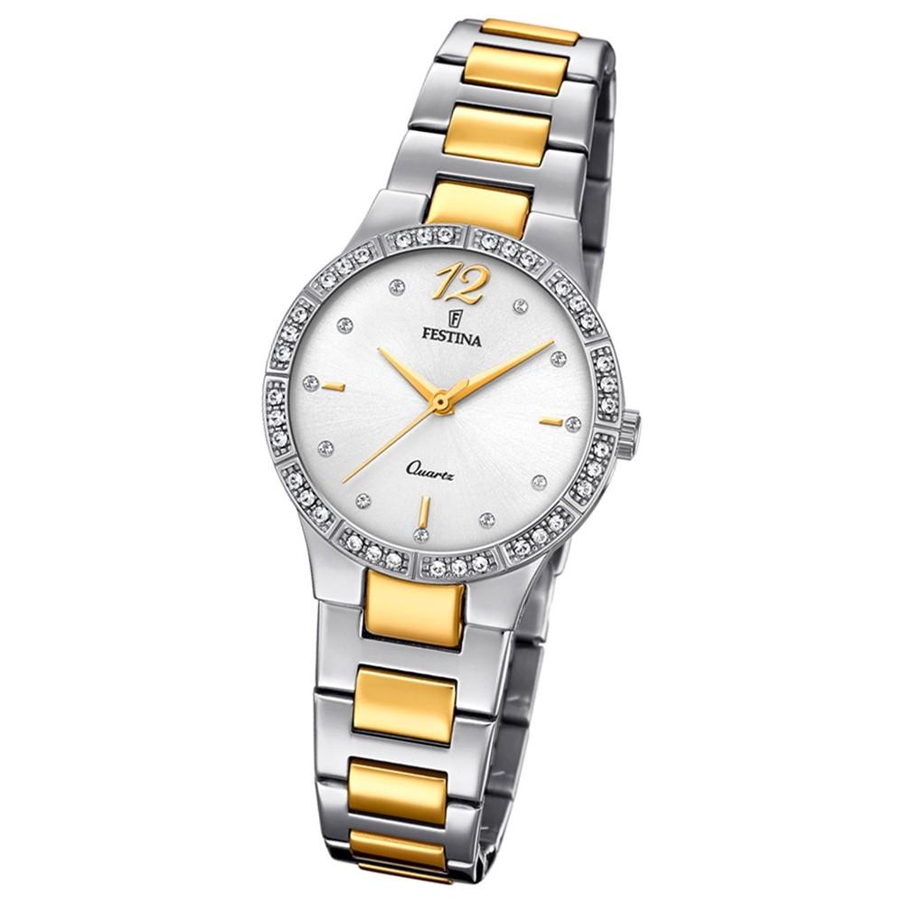 Festina Damen Armband-Uhr F20241/1 Quarz Edelstahl silber gold UF20241/1