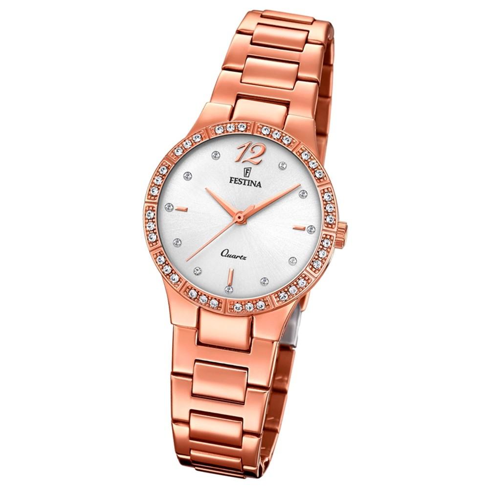 Festina Damen Armband-Uhr F20242/1 Quarz Edelstahl kupfer roségold UF20242/1