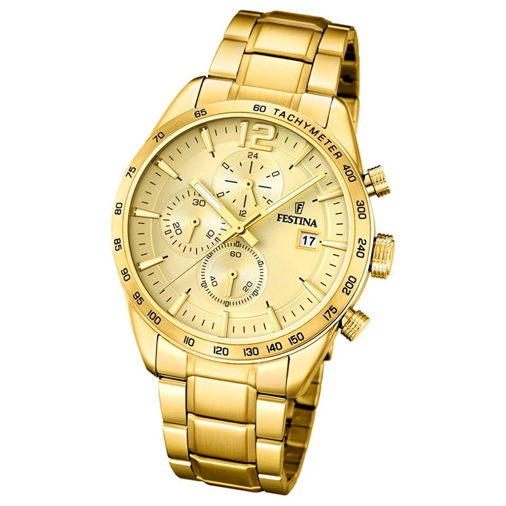 FESTINA Herren-Armbanduhr Chronograph Sport F20266/1 Edelstahl gold UF20266/1
