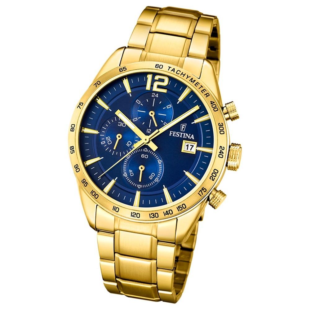 FESTINA Herren-Armbanduhr Chronograph F20266/2 Quarz Edelstahl gold UF20266/2