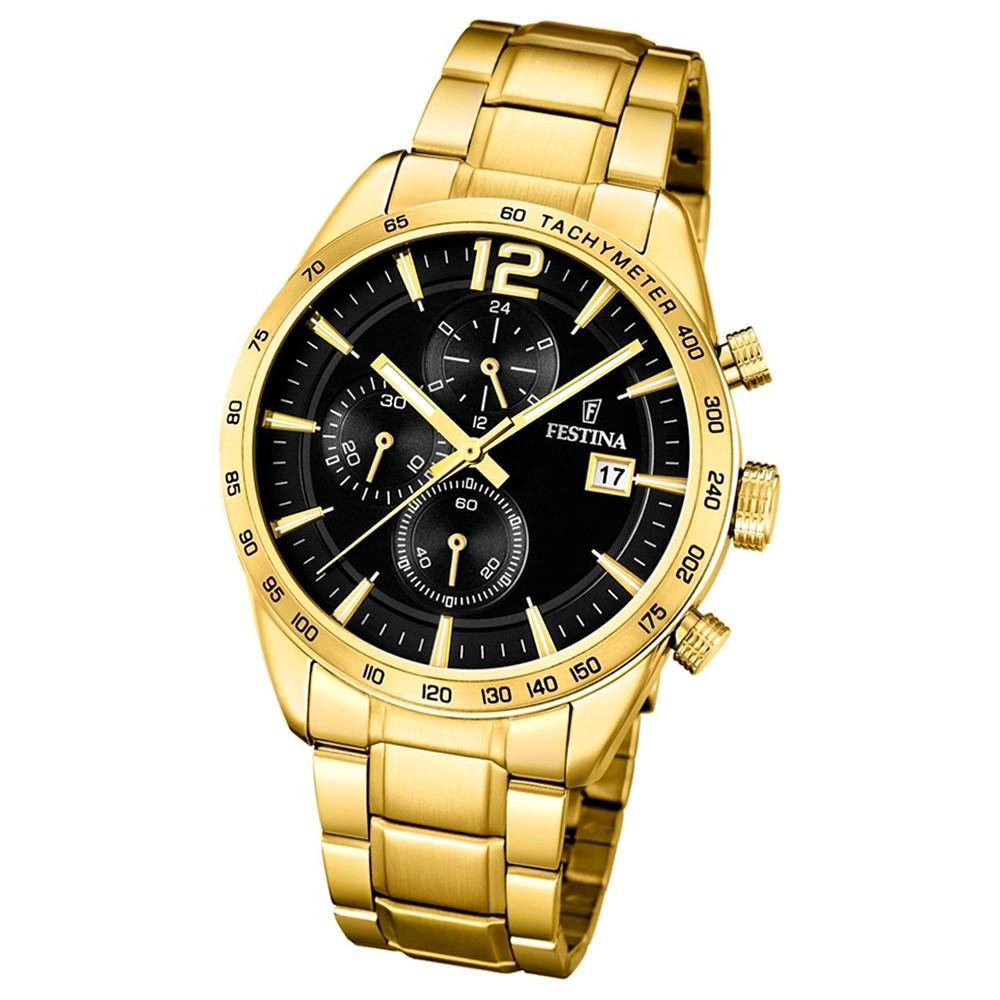 FESTINA Herren-Armbanduhr Chronograph F20266/3 Quarz Edelstahl gold UF20266/3