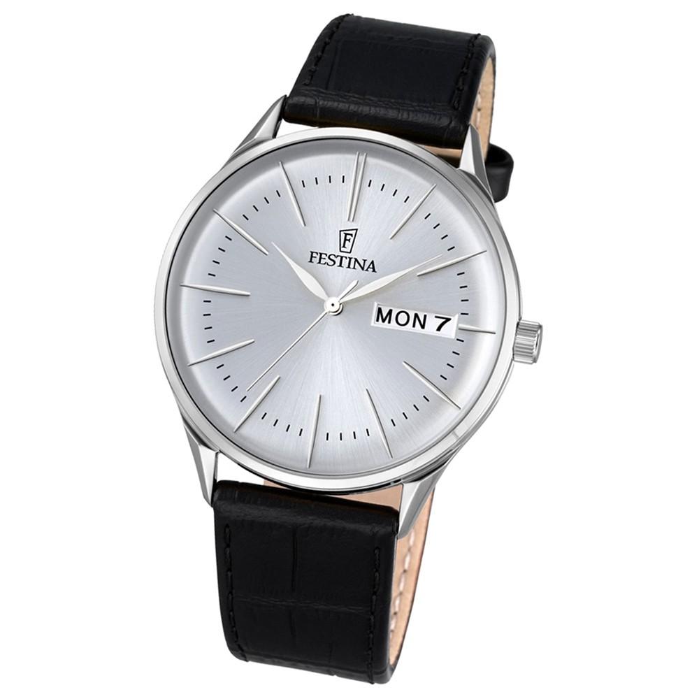 Festina Herren-Uhr klassisch Journees dAchats Quarz Leder schwarz UF6837/1