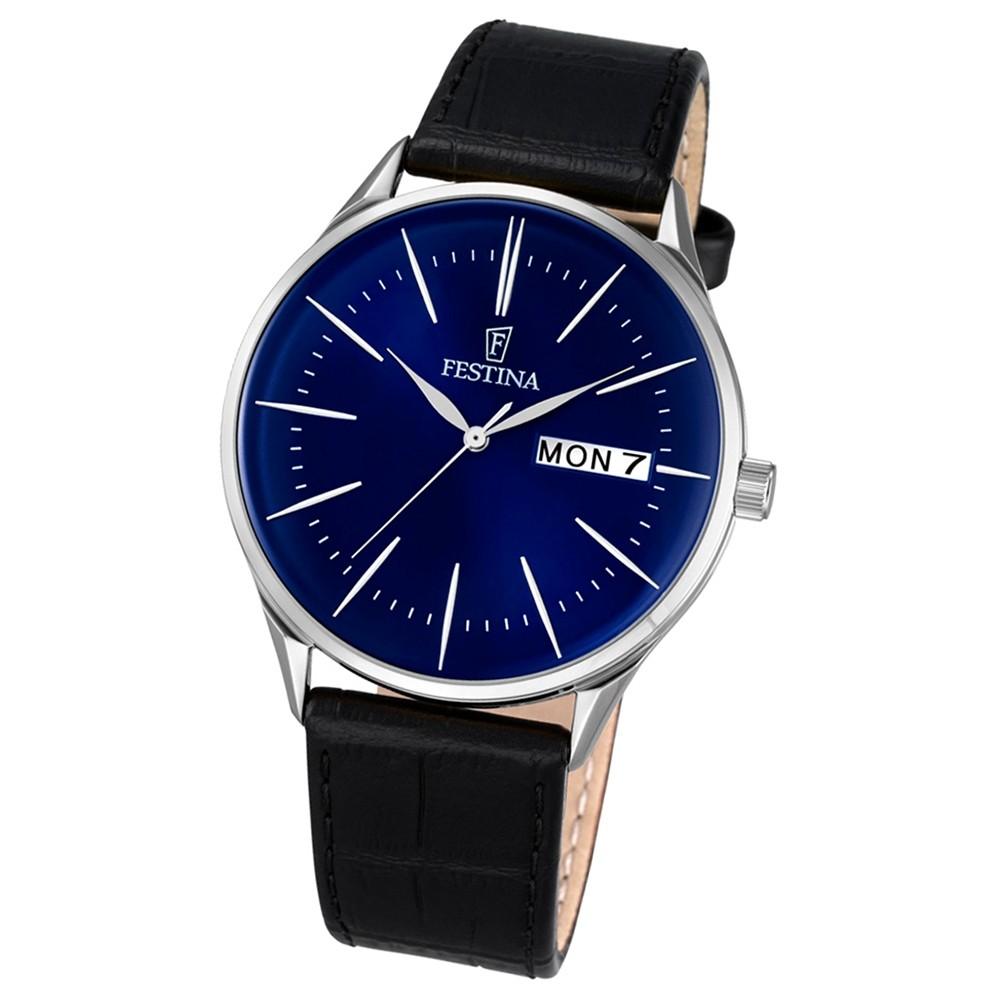 Festina Herren-Uhr klassisch Journees dAchats Quarz Leder schwarz UF6837/3