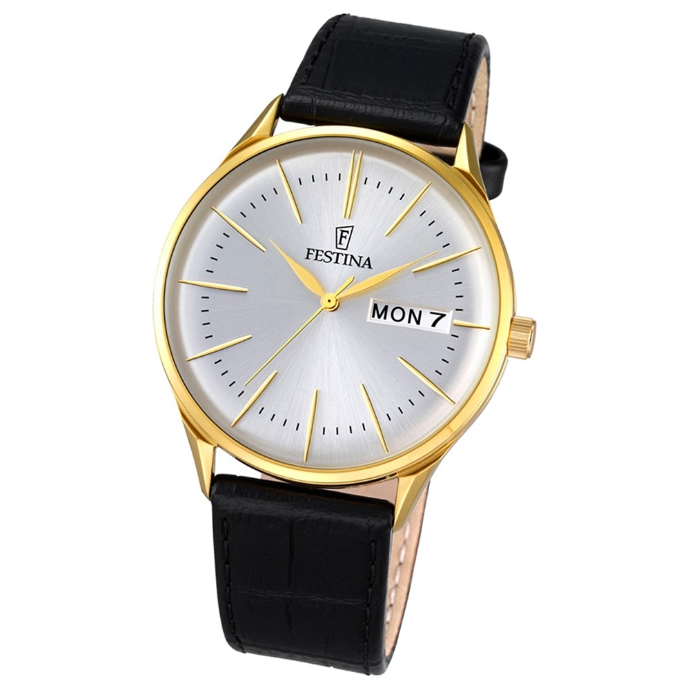 Festina Herren-Uhr klassisch Journees dAchats Quarz Leder schwarz UF6838/1