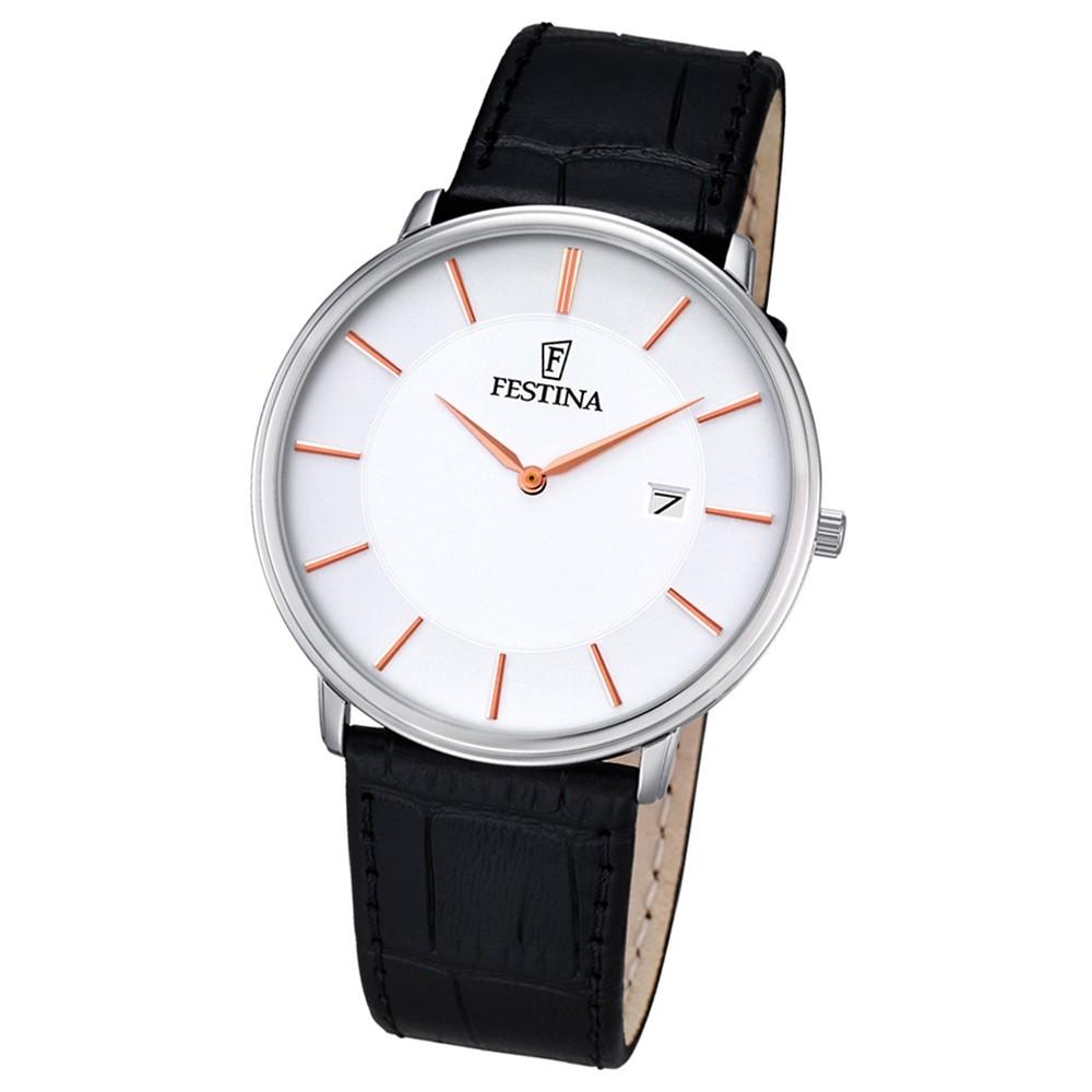 Festina Herren-Armbanduhr Elegant analog Quarz Leder schwarz UF6839/3
