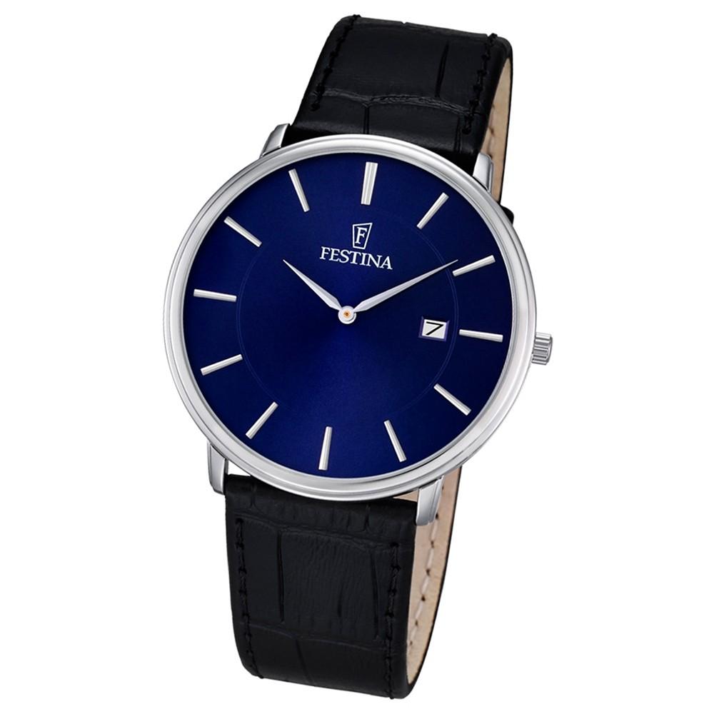 Festina Herren-Armbanduhr Elegant analog Quarz Leder schwarz UF6839/4