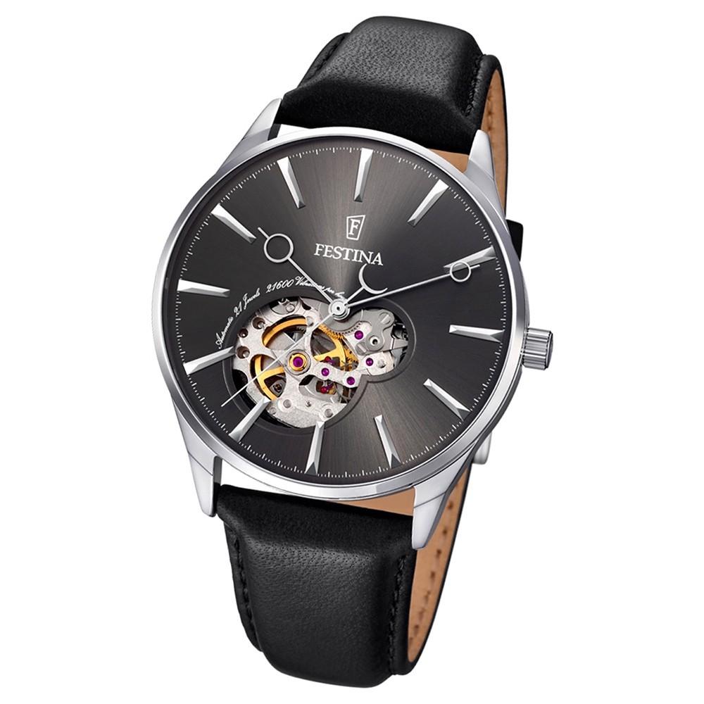 FESTINA Herren-Armbanduhr Automatik F6846/2 Leder schwarz UF6846/2